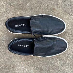Report brand black slip-on shoes